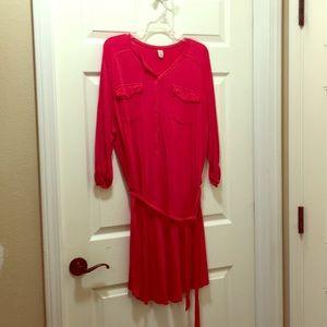 Red Dress with Tie Waist